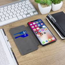 Slim Genuine Leather Flip iPhone X Wallet Case Black
