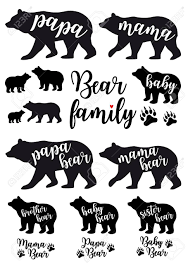 Mama Bear Papa Baby Silhouettes Set Of Vector Graphic Design Elements