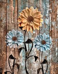 Brown Blue Rustic Flowers Home Decor Farmhouse Wall Art Matted Picture