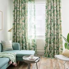 minimalismus vorhang groß grün blätter design im wohnzimmer
