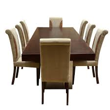 Solid Wood Large Rustic Dining Table With Leather Parson ...