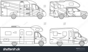 Coloring Pages Set Of Different Silhouettes Car Travel Trailers Flat Linear Icons Isolated On