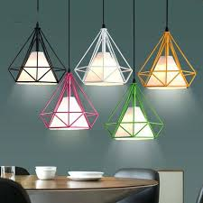 Lampshade For Hanging Light One Lights Colourful Pendant Diamonds Simple Design Fixture