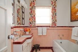 los angeles pink damask curtains bathroom midcentury with floral