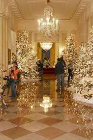 The Press Viewing Christmas Decorations In Grand Foyer Of White House