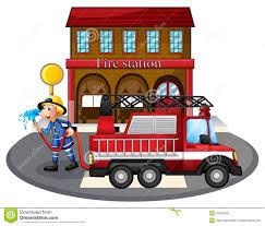 100 Clipart Fire Truck A Man Holding A Water Hose Beside A Illustration