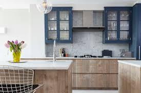 Blue Cabinets Rustic Wood London Kitchen