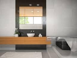 innenansicht badezimmer mit holzdecke 3d abbildung 3 stock