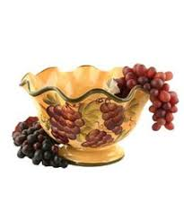 Sonoma Collection Fruit Bowl Hand Painted Gold Kitchen DecorKitchen