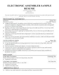 Sample Resume For Production Worker Assembly Line Shocking