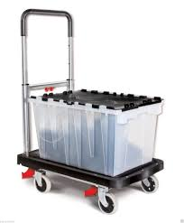 100 4 Wheel Hand Truck Cart Folding Platform Cart BlackSilverin