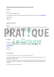 message d absence bureau message d absence du bureau pratique fr