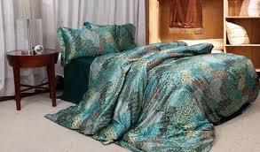 Blue Peacock Feather Bedding Set Silk Satin Super King Size Queen