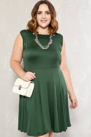 hunter green sleeveless round collar knee length casual dress