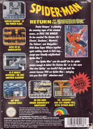 Spider Man Return Of The Sinister Six NES Back Cover