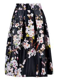 choies women u0027s black green white blue sakura skater skirt with