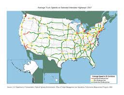 Average Truck Speeds On Selected Interstate Highways 2007