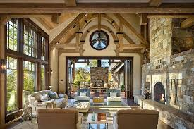 Rustic Living Rooms With Fireplaces Room High Ceiling And Fireplace
