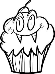 Vampire Cupcake Cartoon Coloring Page