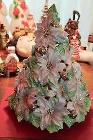 Vintage Atlantic Mold Ceramic Christmas Tree by Atlantic Mold White Ceramic Poinsettia Christmas Tree Rare Gold