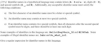 Solved 25 Identifier Names In A Hypothetical Language