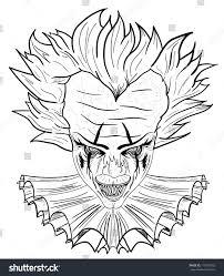Creepy Clown Pumpkin Stencils by Evil Clown Black White Hand Drawn Stock Vector 719937655