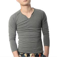 Long Sleeve T Shirts Men Cotton Designer V Neck Plain Raglan Vintage Style Urban Jersey