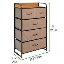 mdesign kommode mit 5 schubladen hoher schubladenschrank für schlafzimmer wohnzimmer oder flur kleiderkommode aus metall mdf und stoff braun