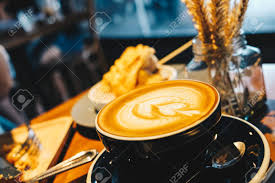 Cup Of Hot Latte Art On Wood Table Beverage Object Stock Photo