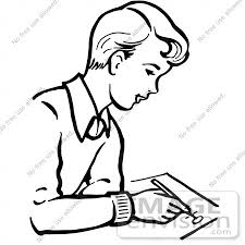 Clipart A Retro Boy Writing In Black And White Royalty Free
