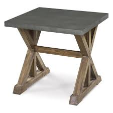 End Table Rustic And Artistic Design With Trestle Frame Made Of Hardwood Solids Selected Veneers Thick Zinc Plated Slab Top 390