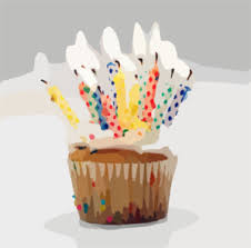 Blurred Birthday Cupcake Candles Clip Art