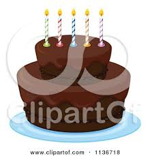 Chocolate Birthday Cake With Colorful Candles by Graphics RF