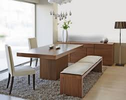 Modern Dining Room Table With Chairs And Bench Design In White Wall Fur Rug