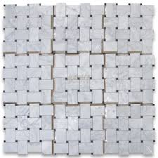 carrara white large basketweave mosaic tile w black dots polished