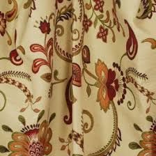 Jacobean Floral Curtain Fabric by Red Orange Brown Jacobean Floral Upholstery Fabric Maelle Vellum
