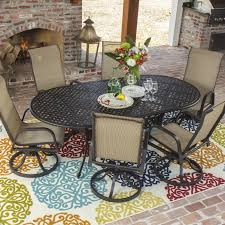 Slingback Patio Chairs That Rock by Madison Bay 7 Piece Sling Patio Dining Set With Swivel Rockers And