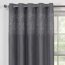 Thermal Lined Curtains Ireland by Finesse Charcoal Embroidered Luxury Thermal Lined Curtains Pair