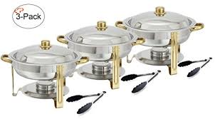 Tiger Chef 3 Pack 4 Quart Round Chafing Dish Buffet Warmer Set Gold Accented