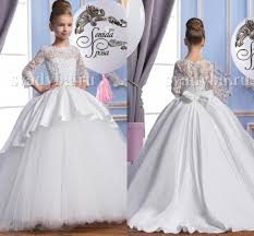 2016 pearls lace long sleeves tulle arabic flower dresses