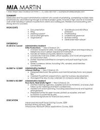 Administrative Assistant Resume Summary Examples Example
