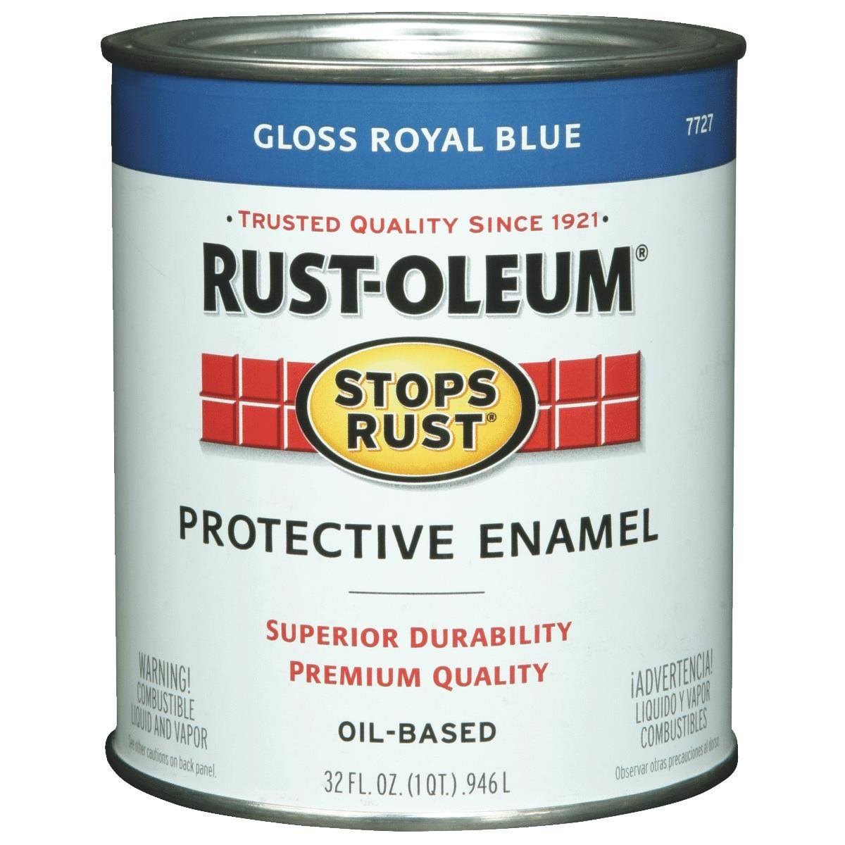 Rust-oleum Stops Rust Oil-base Paint - 32oz, Exterior Gloss, Royal Blue