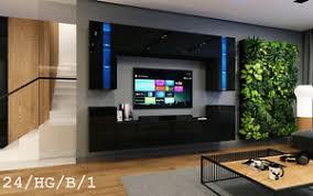 details zu moderne wohnwand future 24 hochglanz tv schrank led beleuchtung möbel wohnzimmer