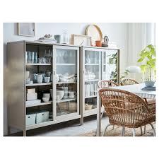 idåsen beige cabinet with sliding glass doors 120x140 cm