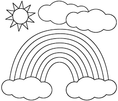 This Rainbow Sun And Clouds Coloring Page Features A Picture Of To Color The Is Printable Can Be Used In