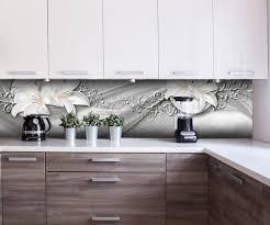 küchenrückwand abstrakte lilien grau silber nischenrückwand spritzschutz fliesenspiegel ersatz deko küche m0524