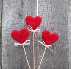 Red Hearts Felted On Sticks Rustic Heart Cake Topper Sweetheart Nature Inspired Autumn Home Decor Fairy Folk Gift Idea