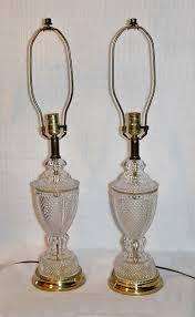 Aladdin Caboose Lamp Shade by Vintage Pair Lead Crystal Brass Lamp Tritschler Winterhalder