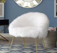 White Fluffy Chair Vanity Faux Fur Furniture Boho