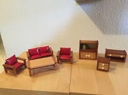 wohnzimmer stube puppenhaus möbel holz 8 teilig 60er jahre